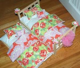 American Girl Doll Bed - SPRING ROSES Trundle Bed -Fits American Girl Dolls and 18 Inch Dolls