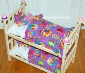 Doll Bunk Bed - Purple Peace Julie Bunk Bed - Fits American Girl Doll and 18 inch dolls