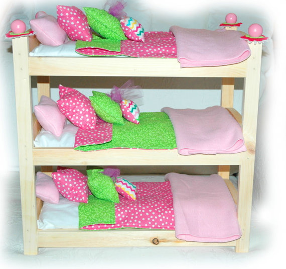 triple doll bunk bed cotton candy american made girl doll bunk bed fits ag doll and 18 inch. Black Bedroom Furniture Sets. Home Design Ideas