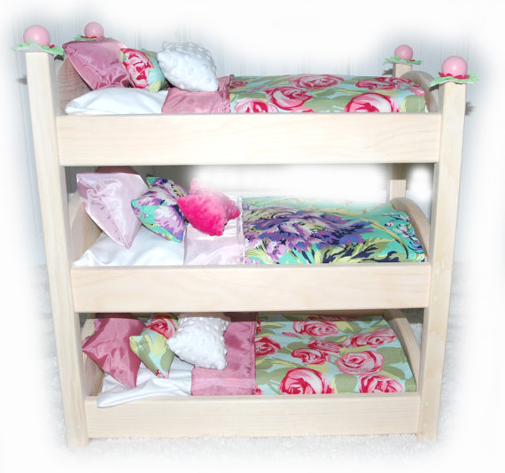 triple doll bunk bed rose garden american made girl doll bed fits ag doll and 18 inch dolls. Black Bedroom Furniture Sets. Home Design Ideas