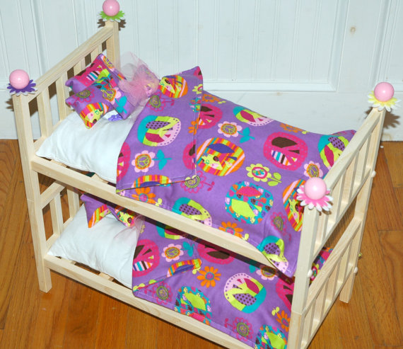 Doll Bunk Bed - Purple Peace Julie Bunk Bed - Fits American Girl Doll ...